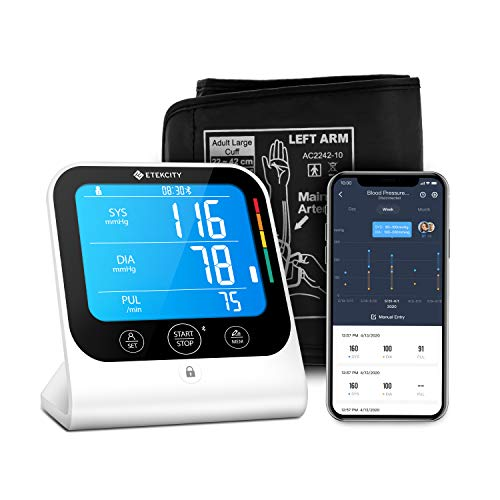 Blood Pressure Monitor by Etekcity, Digital Bluetooth Automatic Upper Arm Cuff with Large Vertical Readings, Unlimited Memories and Sharing in APP, Arrhythmia Indication (TMB-1583-BS)