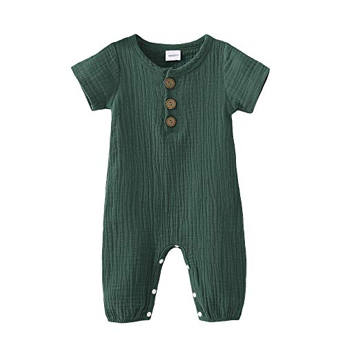 Toddler Baby Girls Boys Romper Solid Infant Romper Green Jumpsuit One-Piece Bodysuit Summer Outfit Baby Onesie 12-18 Months Girl Clothes