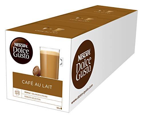 NESCAFÉ Dolce Gusto Café au Lait 48 Kaffeekapseln (ausgewählte Robusta Bohnen, Leichter Kaffeegenuss mit cremigem Milchschaum, Schnelle Zubereitung, Aromaversiegelte Kapseln) 3er Pack (3 x 16 Kapseln)