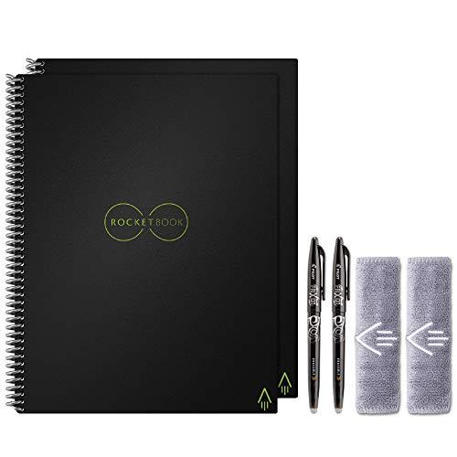 Rocketbook Conjunto Holiday Bundle – 2 cadernos inteligentes reutilizáveis com 1 caderno forrado e 1 bloco de notas, 2 canetas Pilot Frixion e 2 panos de microfibra – capa preta infinita, tamanho carta (21,5 x 28 cm) (EVR-L-K-BND)