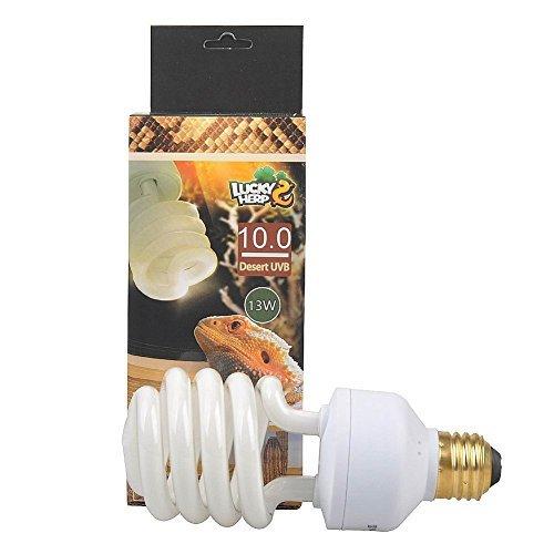 LUCKY HERP 10.0 UVB Fluorescent Desert Terrarium Lamp,Reptile UB Bulb Light,Compact Bulb (13 Watt)