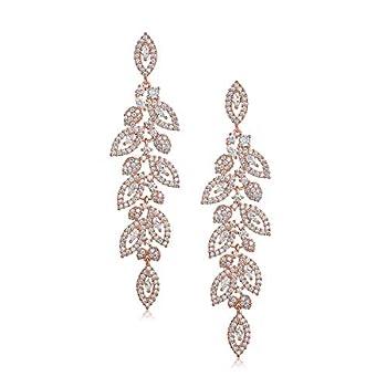 SWEETV Rose Gold Wedding Bridal Chandelier Earrings Crystal Rhinestone Drop Dangle Earrings for Women Brides