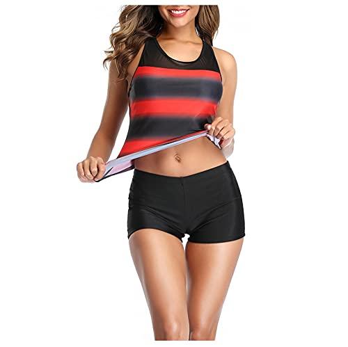 YAOBF Push Up Bikinioberteil mit Shorts Strandbikini O Neil Badeanzug Mega Push Up Bikini Oberteil Tankini Mit Arm Badeanzug Mit Hohem Ausschnitt In ÜBergrößE (Rot 1,L)