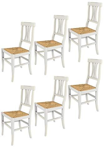 Tommychairs - Set 6 sillas Shabby Chic Artemisia para Cocina y Comedor, Estructura en Madera de Haya Envejecida artesanalmente a Mano y Asiento en Paja