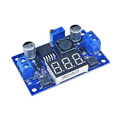 Chesoon Convertidor de corriente Step Down Buck, módulo de fuente de alimentación de voltaje ajustable LM2596S, DC 2.5-40V a DC 1.25-37V con pantalla de voltímetro LED