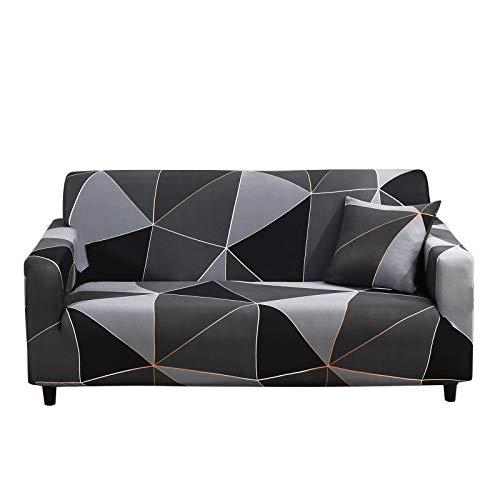 SHANNA Sofabezug Sofa Überwürfe Elastische, Stretch Sofaüberwurf 2 Sitzer Sofahusse Sofa Bezug Antirutsch für Sofa Couch, Sofa Abdeckung mit 1 Stück Kissenbezug (2-Sitzer, Geometrisches Schwarz)