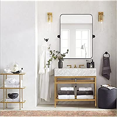 Buy Moon Mirror 20 X 28 Black Metal Framed Pivot Rectangle Bathroom Mirror In Stainless Steel Tilting Rounded Rectangular Vanity Mirror For Wall Mounted Hangs Vertical Online In Indonesia B08z3mvx15