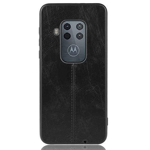 HAOYE Hülle für Motorola Moto One Zoom Ultra-Slim Silikon Hülle Cover, Leder-Erscheinungsbild Retro Hülle, Dünne Handyhülle Schutzhülle, Stoßfeste Etui Handy-Tasche Backcover Bumper, Schwarz