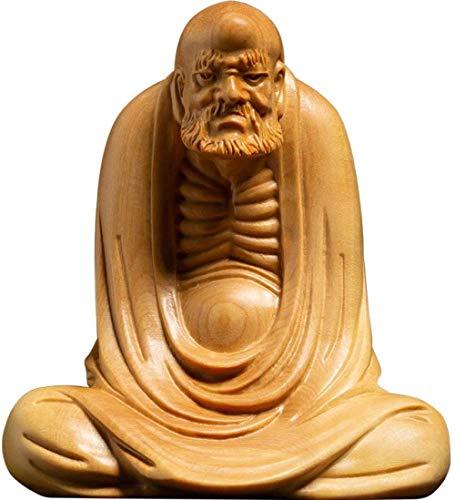 Estatuas para jardín Escultura Estatuilla Estatua de Buda Talla de Madera Bodhidharma Dharma Adornos Madera de boj Escultura de Madera Maciza Obra de Arte para la Sala Accesorios de Mesa Regalo de