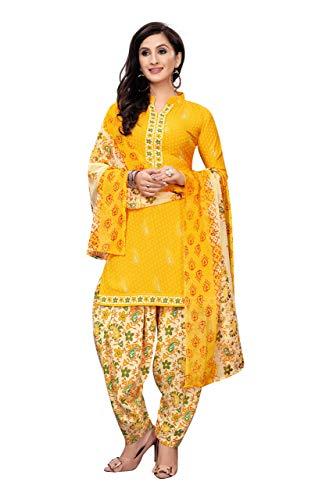 TIQ Women's Dress Material Yellow