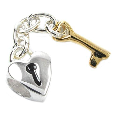 Charm in argento Sterling a forma di lucchetto a cuore e chiave pendente, per bracciali da charm in stile europeo