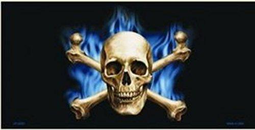 Smart Blonde Blue Flame Skull and Crossbones Metal License Plate