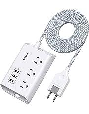 電源タップ 延長コード USBコンセント 3個AC口 3つUSBポート 急速充電 180°スイングプラグ PSE技術基準適合 テーブルタップ 充電タップ コンパクト 1.5M 過負荷保護 省エネ 外出 旅行 オフィス 自宅 (ホワイト)