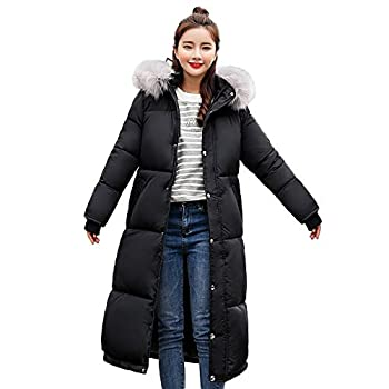 Clearance Hooded Down Peacoat Women s Winter Long Down Cotton Parka Coat Ladies Warm Quilted Outwear  Black,XL