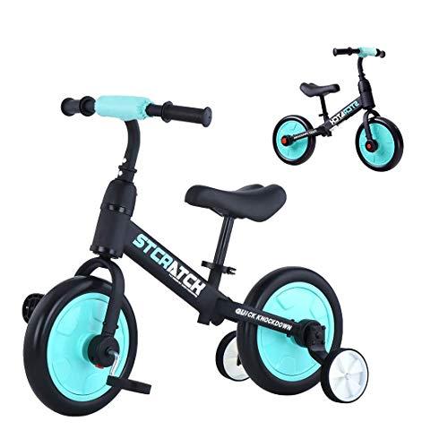 Yealeo 4 in 1 Bicicletta per Bambini, Bicicletta Equilibrio Adatto per 2, 3, 4 e 5 Anni con Rimovibili Ruote di Sostegno e Pedali, Facile Assemblaggio, Blu