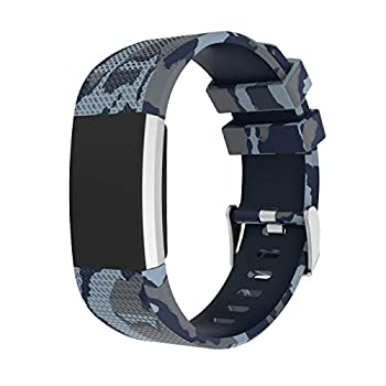 for Fitbit Charge 2 Bands Camouflage Silicone Replacement Band with Metal Buckle Sport Strap Wristbands Accessories for Fitbit Charge2 Fitness Tracker Women Men  Gray