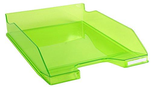 Exacompta - Réf. 113297D - lot de 6 corbeilles à courrier COMBO MIDI - dimensions 34,6 x 25,5x 6,5 cm - pour documents au format A4 + - couleur vert pomme transparent glossy