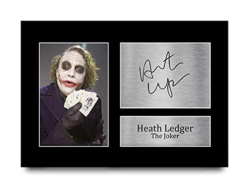 HWC Trading Heath Ledger A4 Sin Marco Regalo De Visualización De Fotos De Impresión De Imagen Impresa Autógrafo Firmado por The Joker Batman Los Aficionados Al Cine