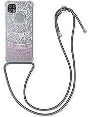 kwmobile telefoonhoesje compatibel met Samsung Galaxy A22 5G - Hoesje met koord voor smartphone in poederroze/wit/transparant