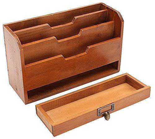 Oinna Armario de madera retro para oficina, caja de almacenamiento de escritorio, cajón, caja de acabado multifunción.