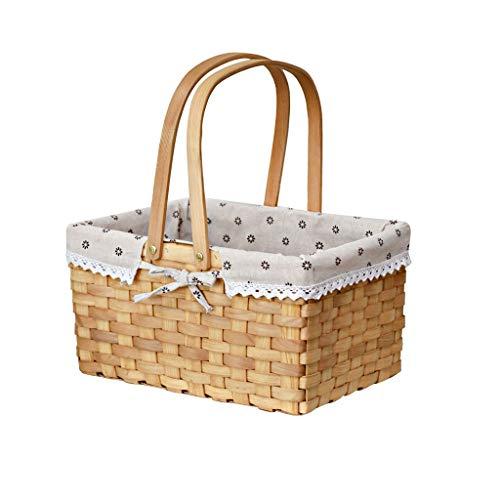 Cesta de picnic de gran capacidad al aire libre Cesta de picnic natural, cesta de Pascua de mimbre, huevos de plástico de Pascua y almacenamiento de dulces de Pascua con forro y mano plegada Juego de