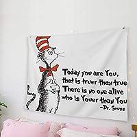 """壁掛けの家の装飾のタペストリー、帽子の猫のフリーハンド寝室のリビングルームの寮の装飾のためのドクタースースの壁の芸術の生地、59"""" X 79"""" 150X130CM"""