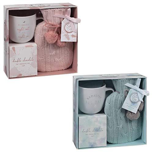 Cozy Hot Chocolate, Tasse und Mini-Wärmflasche, Geschenk-Set, Türkis & Pink, 2 Stück