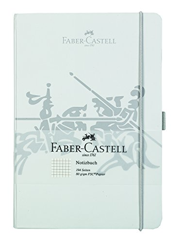 Faber-Castell 10317 Notizbuch DIN A5 mit 194 Seiten, FSC Mix-Papier 80 g/m², kariert, grau