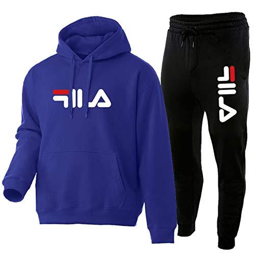 LCSA Sudadera con capucha y pantalón para hombre, 2 pares de estilosos de algodón (S-XXXL) Royal Blue-L