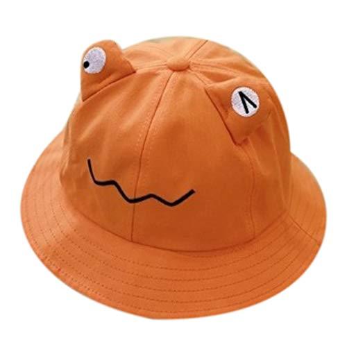 Y-POWER Sombrero de cubo de ojos de rana para niños pequeños con borde ancho, protección solar, bordado, color sólido, plegable, al aire libre, pescador