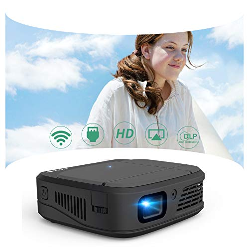 Mini WiFi Projector, Portable DLP Pocket Projector for Home Entertainment Office Use, 3300 Lumen Support 1080P HDMI Projector Built-in Rechargeable Battery, Compatible with Smartphone, PS4, DVD