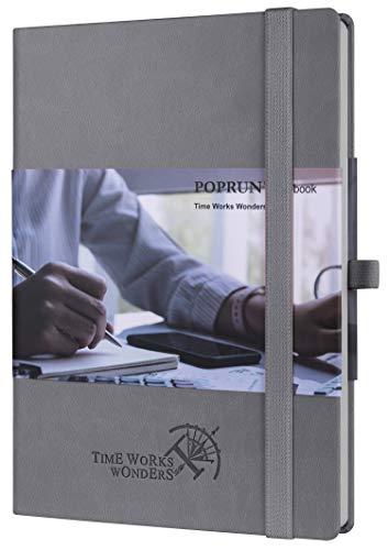 Notizbuch Liniert A5 mit Hardcover Veganem Leder, 120 g/m² Papier Cremefarben, 155 Nummerierte Seiten, Innentasche, Kartenfächern, Gummiband, Stifthalter, Grau