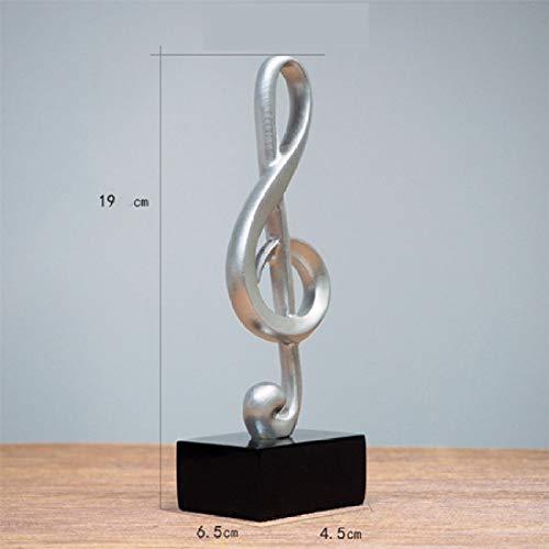 Esculturas,Estatua De Resina De Plata Nota Musical Abstracto C1 Figuras Miniaturas Modelo Estatuilla Adornos De Escritorio Manualidades para Oficina Piano Decoración Decoración del Hogar