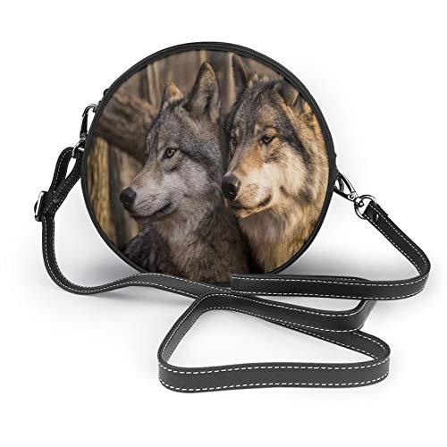 Wolf Family Part Of Wild Animals - Cartera de piel suave para mujer, diseño de círculos
