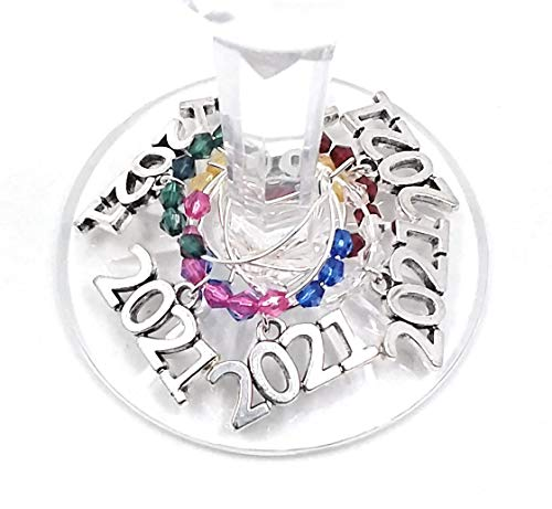 Wine Glass Charms, 2021 Christmas Party Supplies, Glass Tag Identifiers For 2021 Holiday Party, 2021 Party Favors, Christmas and Hanukkah 2021 Glass Marker Labels- 6 wine charms