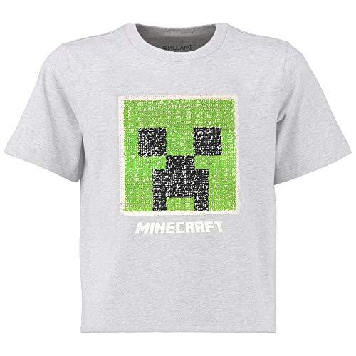 Minecraft Zweiwegepaillette Jungen T-Shirt | Graues Oberteil mit umgekehrter Pailletten-Pixel-Stil-Strampler-Motiv | Kinder & Jugendliche Kleidung | Offizielle Waren (16/17 Jahre)