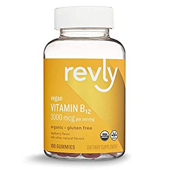 Amazon Brand - Revly Vegan Organic Vitamin B12 3000 mcg - Normal Energy Production and Metabolism Immune System Support - 100 Gummies  2 Gummies per serving