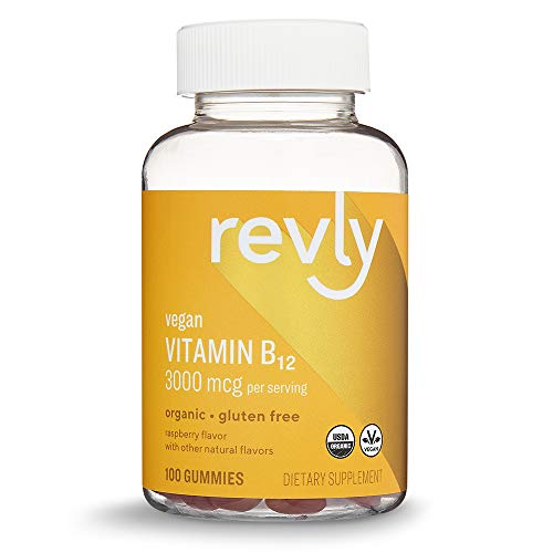 Amazon Brand - Revly Vegan Organic Vitamin B12 3000 mcg - Normal Energy Production and Metabolism, Immune System Support - 100 Gummies (2 Gummies per serving)
