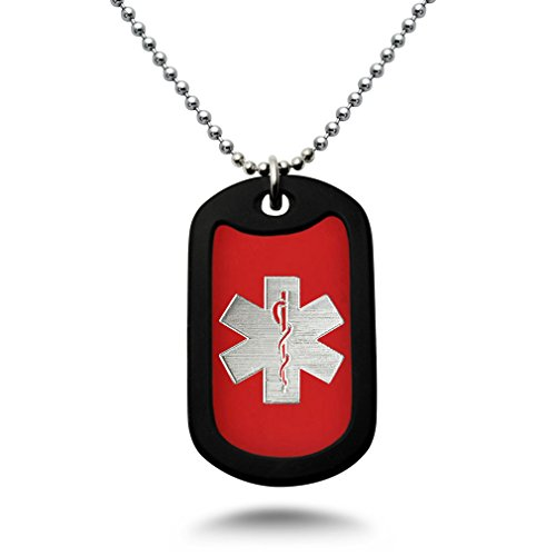 Carved LA Medical Alert ID, Personalized Custom Engraved Medical Alert ID Aluminum Dog Tag Necklace with Stainless Steel Bead Chain Made in USA (Red) AN164