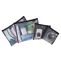 MULTIFUNCTIONAL ORGANIZER Turn packing chaos into order. Organize easy to lose items and keeping them handy. Use pouches as a cosmetic bag, tech accessory organizer, currency pouch, travel document organizer bag, etc. BREATHABLE MESH KEEPS CONTENTS V...