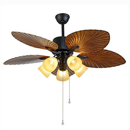Ventilador, Ventilador de techo, ultra silencioso ventilador de techo con luz LED-Kit, de tres colores de atenuación, 6 velocidades, la velocidad del viento, función positiva y revertir, 52 Pulgadas