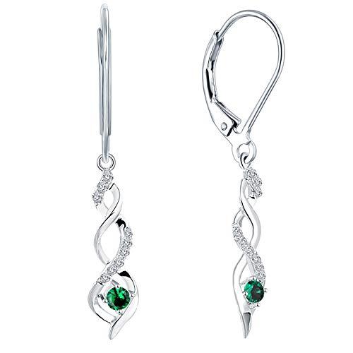 JO WISDOM Damen hängende ohrringe Unendlichkeit infinity silber 925 mit AAA Zirkonia Kristall (Mai Geburtsstein,smaragdgrüne Farbe)