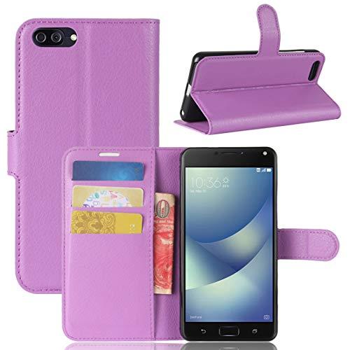 Nuevo for Asus Zenfone 4 Max (ZC520KL) Litchi Texture Funda de cuero con tapa horizontal con soporte y ranuras for tarjetas y billetera (negro) Shiningxie (Color : Purple)