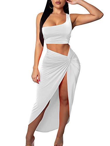 BEAGIMEG Women's Sexy One Shoulder Long Bodycon Slit Skirt 2 Pieces Dress White