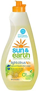 Natural Concentrated Liquid Dish Soap - Light Citrus Scent Dishwashing Liquid - Non-Toxic,