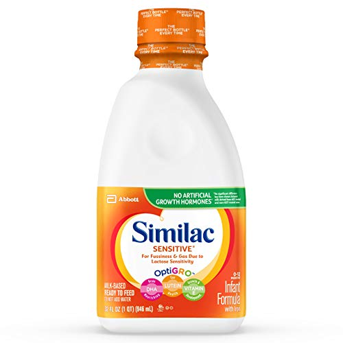Similac Sensitive Infant Formula with Iron, For Fussiness and Gas, Baby Formula, Ready-to-Feed, Ready to Feed, 1 qt