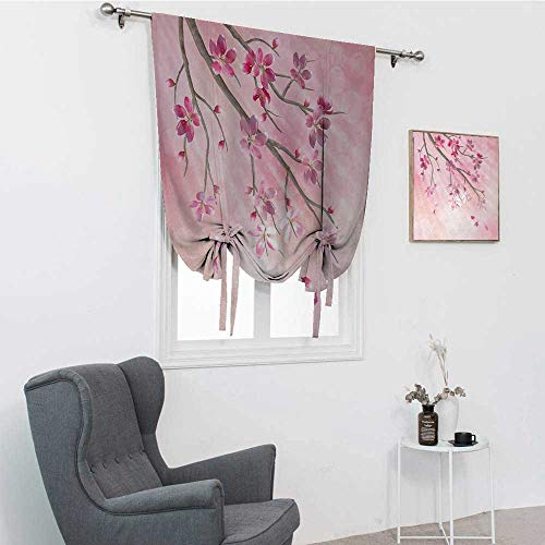 GugeABC Nature - Cenefa para ventana, ilustración de ramas de árbol de primavera con flores, vigas de sol sobre fondo borroso para ventana, color rosa fucsia, 76 x 162 cm