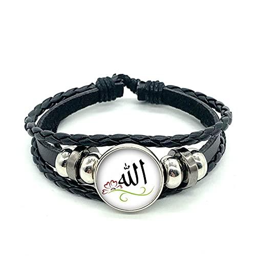 Pulsera De Cuero con Logotipo De Alá Árabe Musulmán Islámico Pulsera De Cuero con Patrón De Insignia Religiosa