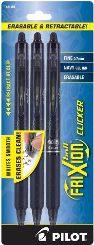 PILOT FriXion Clicker Erasable, Refillable & Retractable Gel Ink Pens, Fine Point, Navy Blue Ink, 3-Pack (31468)