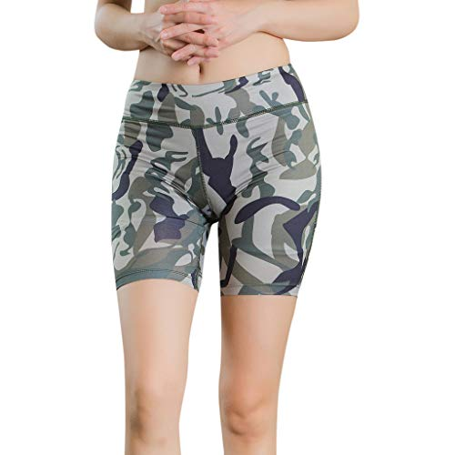 cinnamou Frauen Tarnung leuchtende Yoga Shorts Fitness Shorts Frauen Camouflage leuchtenden Reflexstreifen Yoga Sport Shorts Yoga-Hose